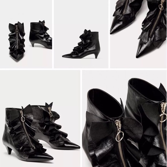 bcaa4c6800a ZARA Ruffle Patent Leather Ankle Boots! 70% Off!!!